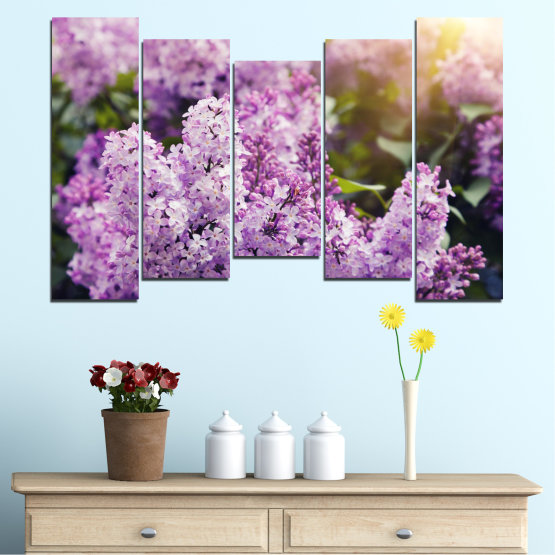 Canvas prints & wall decorative panels - 5 pieces №0227 » Purple, Gray, Dark grey » Flowers, Sun, Lilac Form #4