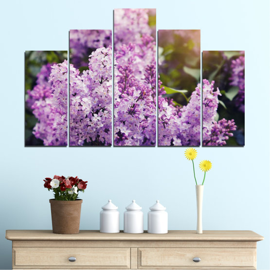 Canvas prints & wall decorative panels - 5 pieces №0227 » Purple, Gray, Dark grey » Flowers, Sun, Lilac Form #5
