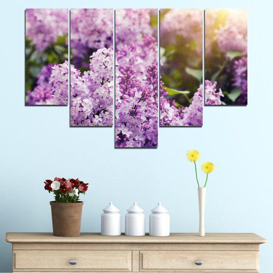 Canvas prints & wall decorative panels - 5 pieces №0227 » Purple, Gray, Dark grey » Flowers, Sun, Lilac Form #6