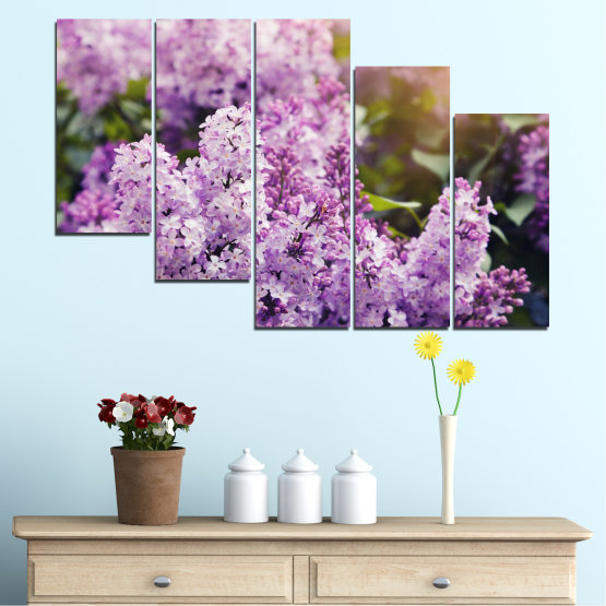 Canvas prints & wall decorative panels - 5 pieces №0227 » Purple, Gray, Dark grey » Flowers, Sun, Lilac Form #7