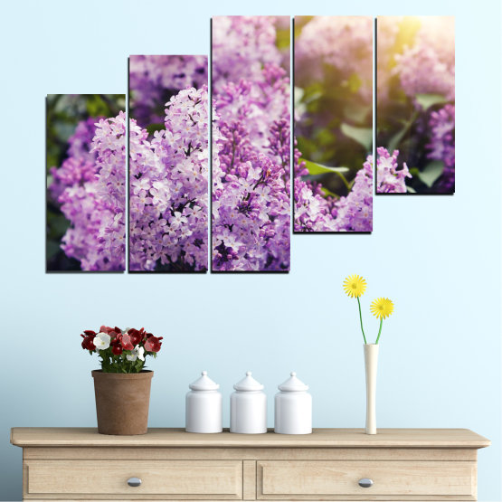 Canvas prints & wall decorative panels - 5 pieces №0227 » Purple, Gray, Dark grey » Flowers, Sun, Lilac Form #8