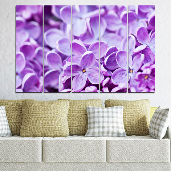 Canvas prints & wall decorative panels - 5 pieces №0228 » Purple, Gray, White » Flowers, Nature, Lilac Form #2