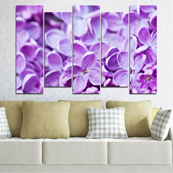 Canvas prints & wall decorative panels - 5 pieces №0228 » Purple, Gray, White » Flowers, Nature, Lilac Form #3