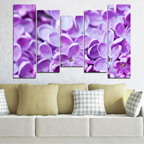 Canvas prints & wall decorative panels - 5 pieces №0228 » Purple, Gray, White » Flowers, Nature, Lilac Form #4