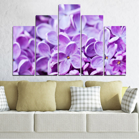 Canvas prints & wall decorative panels - 5 pieces №0228 » Purple, Gray, White » Flowers, Nature, Lilac Form #5
