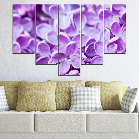 Canvas prints & wall decorative panels - 5 pieces №0228 » Purple, Gray, White » Flowers, Nature, Lilac Form #6