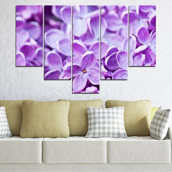 Декоративни панели и картини от канава - от 5 части №0228 » Лилав, Сив, Бял » Природа, Цветя, Люляк Form #6