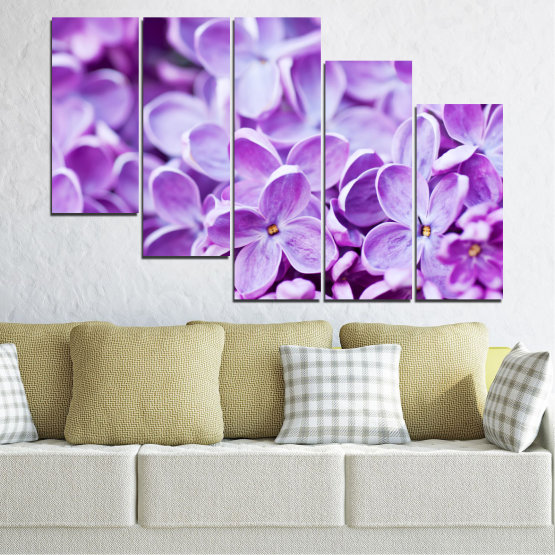 Canvas prints & wall decorative panels - 5 pieces №0228 » Purple, Gray, White » Flowers, Nature, Lilac Form #7