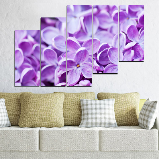 Canvas prints & wall decorative panels - 5 pieces №0228 » Purple, Gray, White » Flowers, Nature, Lilac Form #8