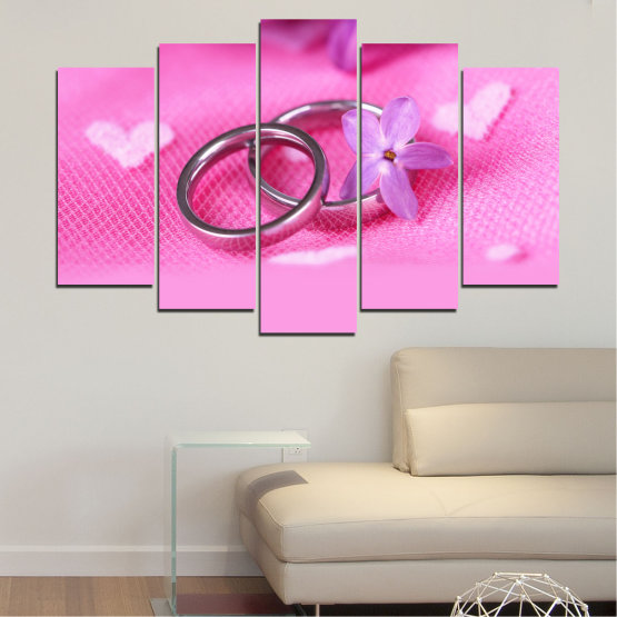 Canvas prints & wall decorative panels - 5 pieces №0229 » Red, Pink, Purple, White, Milky pink » Wedding, Symbol, Ring Form #1