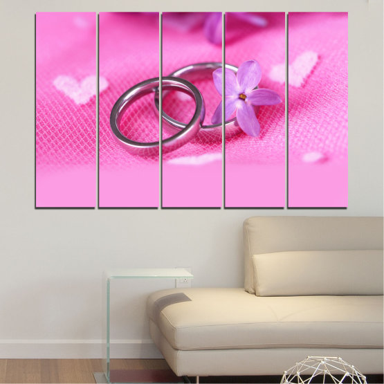 Canvas prints & wall decorative panels - 5 pieces №0229 » Red, Pink, Purple, White, Milky pink » Wedding, Symbol, Ring Form #2