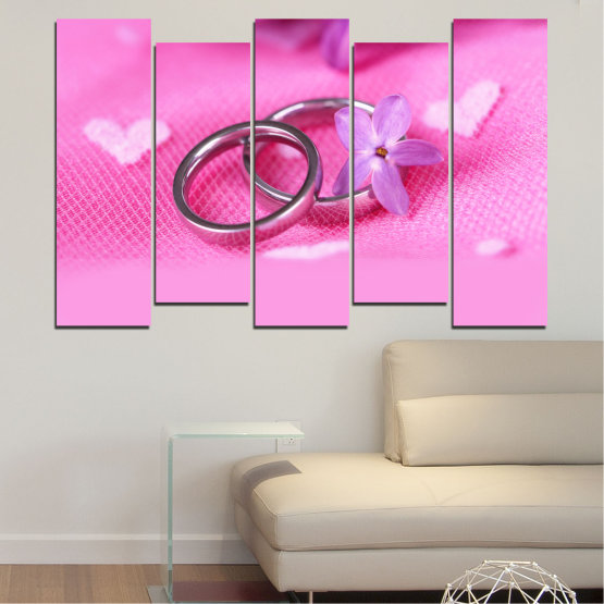 Canvas prints & wall decorative panels - 5 pieces №0229 » Red, Pink, Purple, White, Milky pink » Wedding, Symbol, Ring Form #3