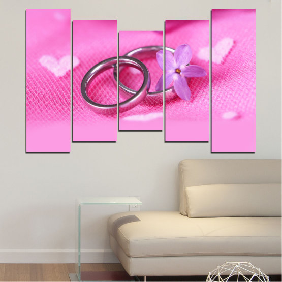Canvas prints & wall decorative panels - 5 pieces №0229 » Red, Pink, Purple, White, Milky pink » Wedding, Symbol, Ring Form #4