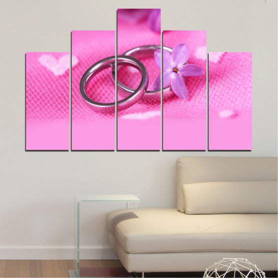 Canvas prints & wall decorative panels - 5 pieces №0229 » Red, Pink, Purple, White, Milky pink » Wedding, Symbol, Ring Form #5
