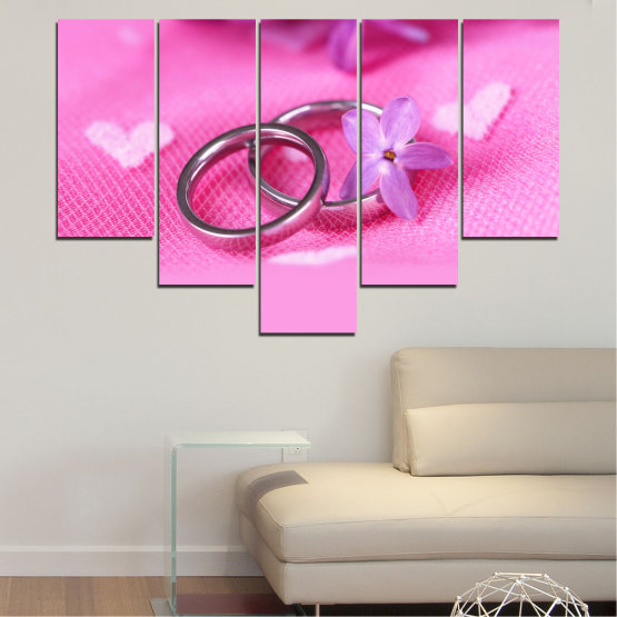 Canvas prints & wall decorative panels - 5 pieces №0229 » Red, Pink, Purple, White, Milky pink » Wedding, Symbol, Ring Form #6