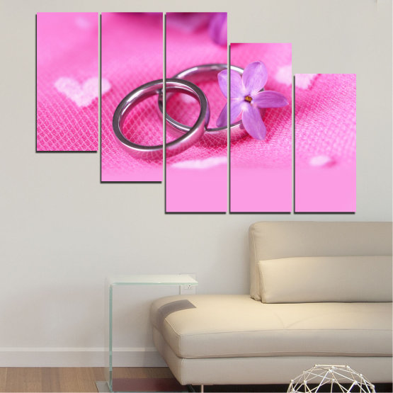 Canvas prints & wall decorative panels - 5 pieces №0229 » Red, Pink, Purple, White, Milky pink » Wedding, Symbol, Ring Form #7