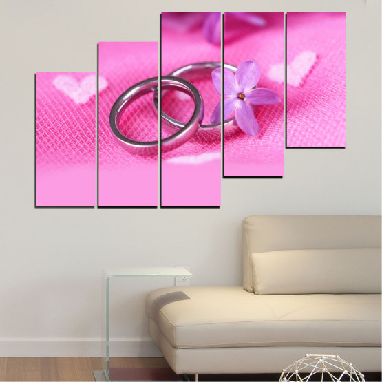 Canvas prints & wall decorative panels - 5 pieces №0229 » Red, Pink, Purple, White, Milky pink » Wedding, Symbol, Ring Form #8