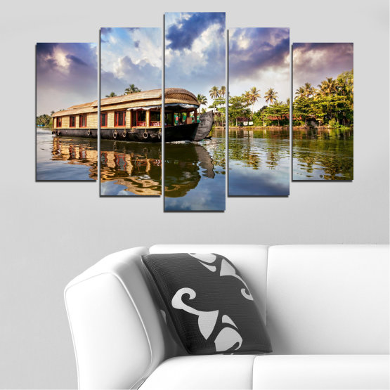 Canvas prints & wall decorative panels - 5 pieces №0023 » Black, Gray, Dark grey » Nature, Landscape, Water, River, Boat Form #1