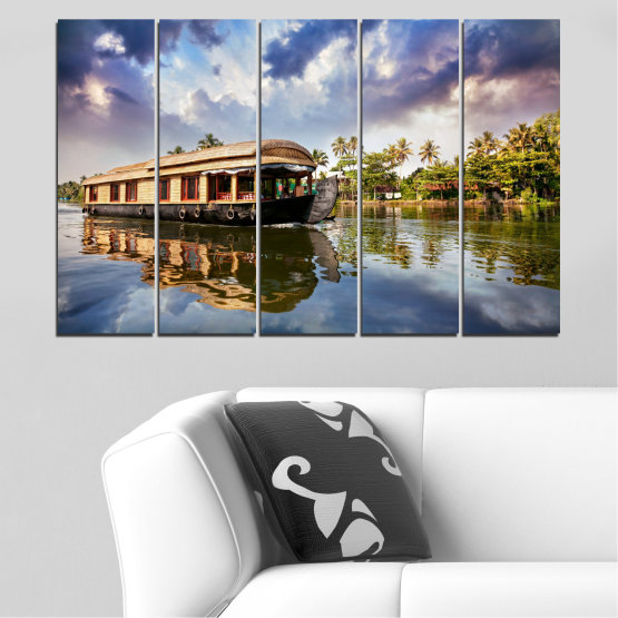 Canvas prints & wall decorative panels - 5 pieces №0023 » Black, Gray, Dark grey » Nature, Landscape, Water, River, Boat Form #2