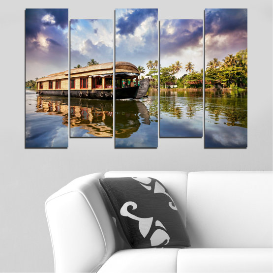 Canvas prints & wall decorative panels - 5 pieces №0023 » Black, Gray, Dark grey » Nature, Landscape, Water, River, Boat Form #3