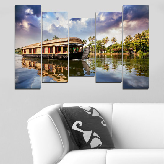 Canvas prints & wall decorative panels - 5 pieces №0023 » Black, Gray, Dark grey » Nature, Landscape, Water, River, Boat Form #4