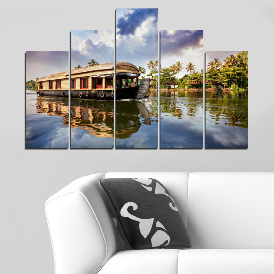 Canvas prints & wall decorative panels - 5 pieces №0023 » Black, Gray, Dark grey » Nature, Landscape, Water, River, Boat Form #5