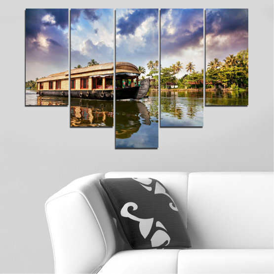 Canvas prints & wall decorative panels - 5 pieces №0023 » Black, Gray, Dark grey » Nature, Landscape, Water, River, Boat Form #6