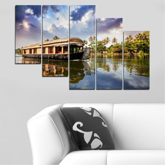 Canvas prints & wall decorative panels - 5 pieces №0023 » Black, Gray, Dark grey » Nature, Landscape, Water, River, Boat Form #7