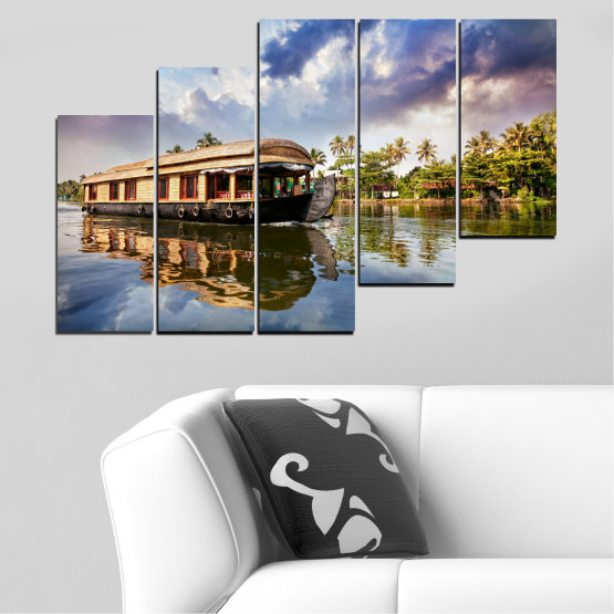 Canvas prints & wall decorative panels - 5 pieces №0023 » Black, Gray, Dark grey » Landscape, Nature, Water, River, Boat Form #8