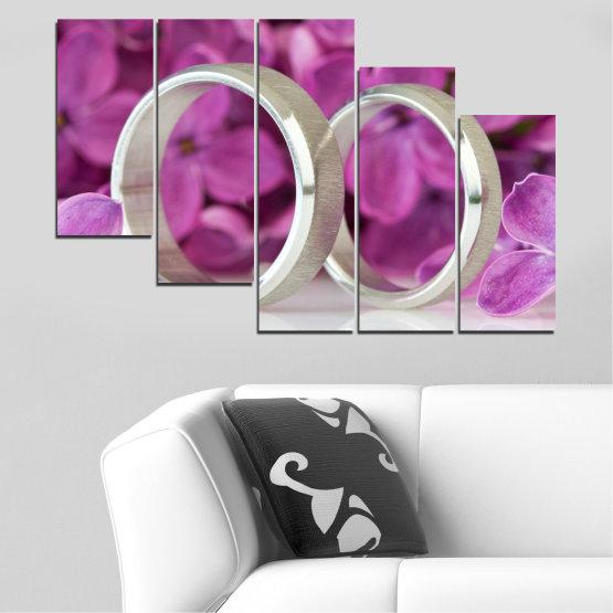 Декоративни панели и картини от канава - от 5 части №0230 » Розов, Лилав, Сив, Тъмно сив » Люляк, Сватба, Символ, Пръстен Form #7
