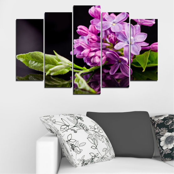 Canvas prints & wall decorative panels - 5 pieces №0231 » Purple, Black, Gray, Milky pink, Dark grey » Flowers, Lilac, Reflection Form #1