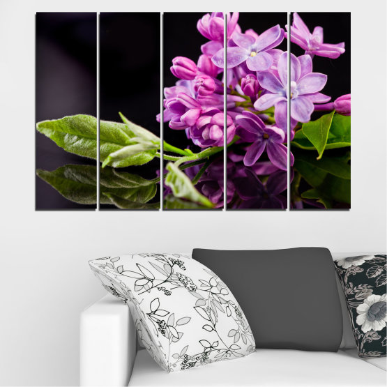 Canvas prints & wall decorative panels - 5 pieces №0231 » Purple, Black, Gray, Milky pink, Dark grey » Flowers, Lilac, Reflection Form #2