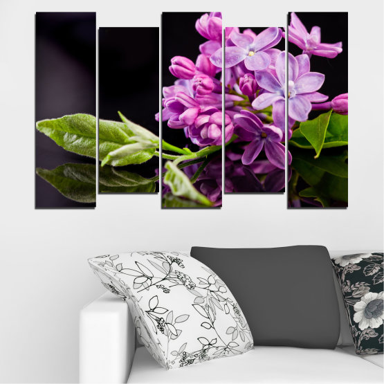 Canvas prints & wall decorative panels - 5 pieces №0231 » Purple, Black, Gray, Milky pink, Dark grey » Flowers, Lilac, Reflection Form #3