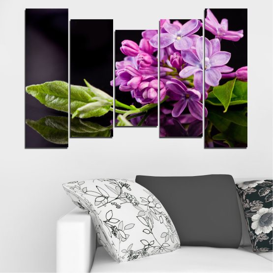 Canvas prints & wall decorative panels - 5 pieces №0231 » Purple, Black, Gray, Milky pink, Dark grey » Flowers, Lilac, Reflection Form #4