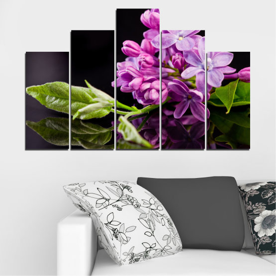Canvas prints & wall decorative panels - 5 pieces №0231 » Purple, Black, Gray, Milky pink, Dark grey » Flowers, Lilac, Reflection Form #5