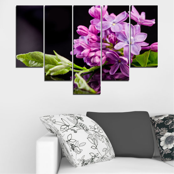 Canvas prints & wall decorative panels - 5 pieces №0231 » Purple, Black, Gray, Milky pink, Dark grey » Flowers, Lilac, Reflection Form #6