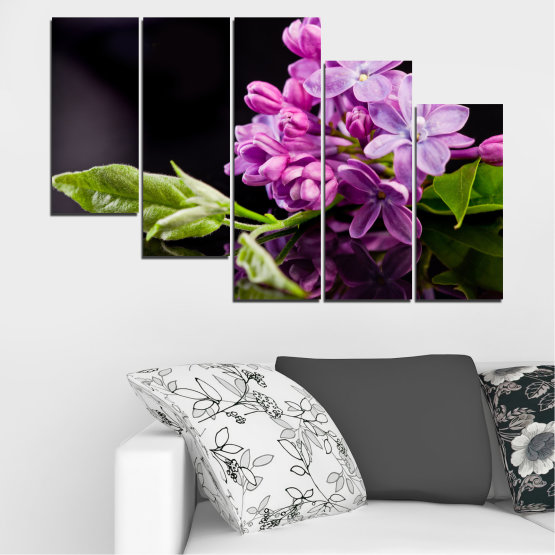 Canvas prints & wall decorative panels - 5 pieces №0231 » Purple, Black, Gray, Milky pink, Dark grey » Flowers, Lilac, Reflection Form #7