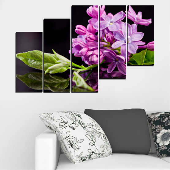 Canvas prints & wall decorative panels - 5 pieces №0231 » Purple, Black, Gray, Milky pink, Dark grey » Flowers, Lilac, Reflection Form #8
