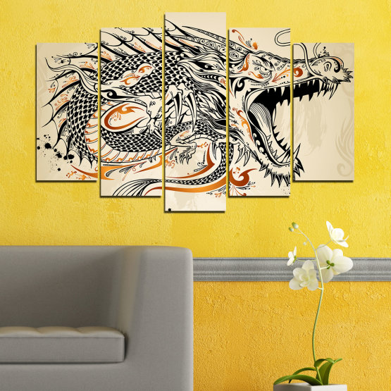 Canvas prints & wall decorative panels - 5 pieces №0233 » Black, Gray, White, Beige, Dark grey » Drawing, Dragon, China Form #1