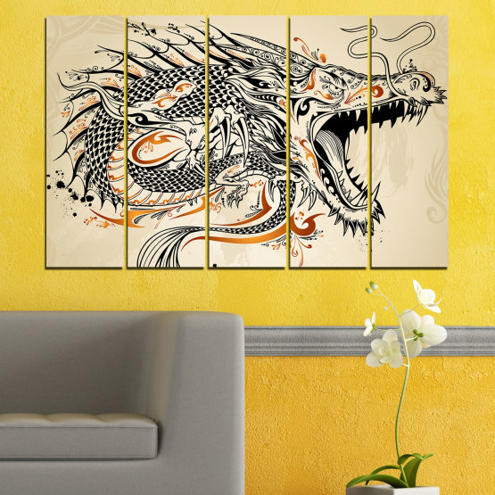 Canvas prints & wall decorative panels - 5 pieces №0233 » Black, Gray, White, Beige, Dark grey » Drawing, Dragon, China Form #2