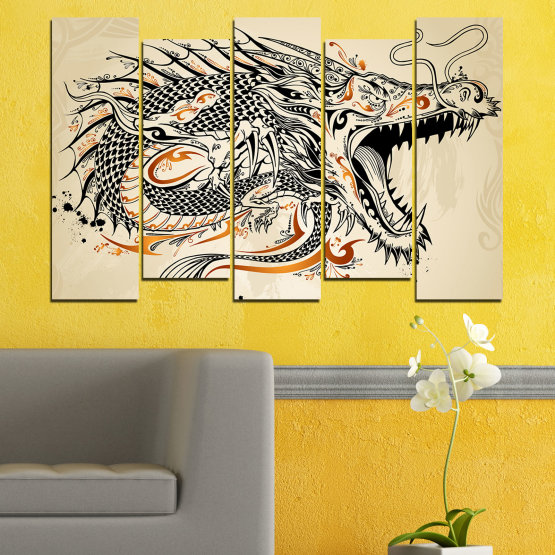 Canvas prints & wall decorative panels - 5 pieces №0233 » Black, Gray, White, Beige, Dark grey » Drawing, Dragon, China Form #3