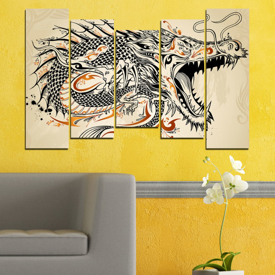 Canvas prints & wall decorative panels - 5 pieces №0233 » Black, Gray, White, Beige, Dark grey » Drawing, Dragon, China Form #4