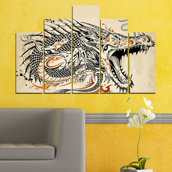 Canvas prints & wall decorative panels - 5 pieces №0233 » Black, Gray, White, Beige, Dark grey » Drawing, Dragon, China Form #5