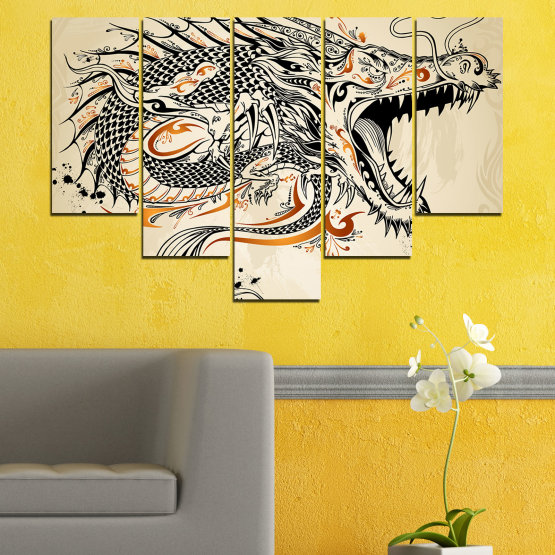 Canvas prints & wall decorative panels - 5 pieces №0233 » Black, Gray, White, Beige, Dark grey » Drawing, Dragon, China Form #6