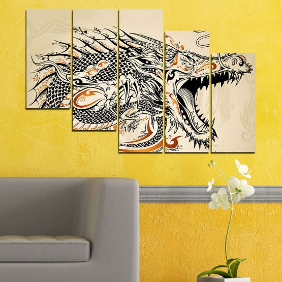 Canvas prints & wall decorative panels - 5 pieces №0233 » Black, Gray, White, Beige, Dark grey » Drawing, Dragon, China Form #7