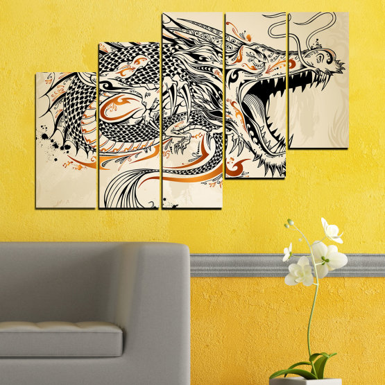 Canvas prints & wall decorative panels - 5 pieces №0233 » Black, Gray, White, Beige, Dark grey » Drawing, Dragon, China Form #8