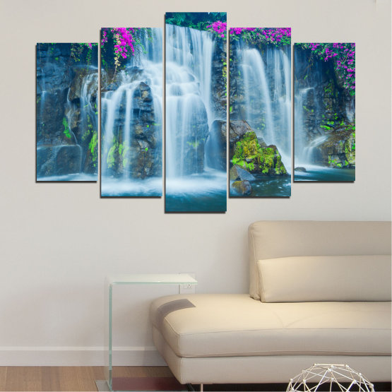 Canvas prints & wall decorative panels - 5 pieces №0234 » Blue, Turquoise, Gray, Dark grey » Nature, Landscape, Waterfall, Water, Rocks Form #1
