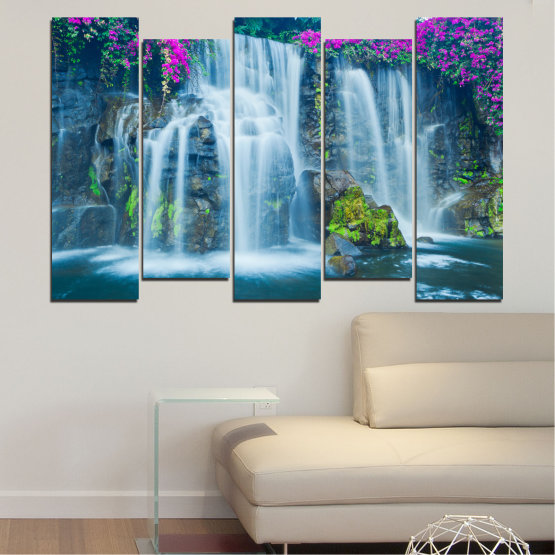 Canvas prints & wall decorative panels - 5 pieces №0234 » Blue, Turquoise, Gray, Dark grey » Nature, Landscape, Waterfall, Water, Rocks Form #3