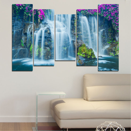 Canvas prints & wall decorative panels - 5 pieces №0234 » Blue, Turquoise, Gray, Dark grey » Nature, Landscape, Waterfall, Water, Rocks Form #4