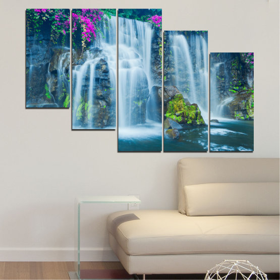 Canvas prints & wall decorative panels - 5 pieces №0234 » Blue, Turquoise, Gray, Dark grey » Nature, Landscape, Waterfall, Water, Rocks Form #7